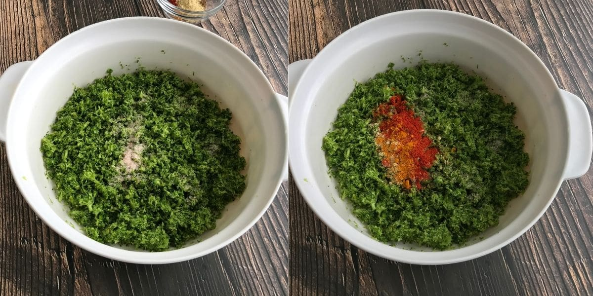 A small bowl is with grated broccoli and spices