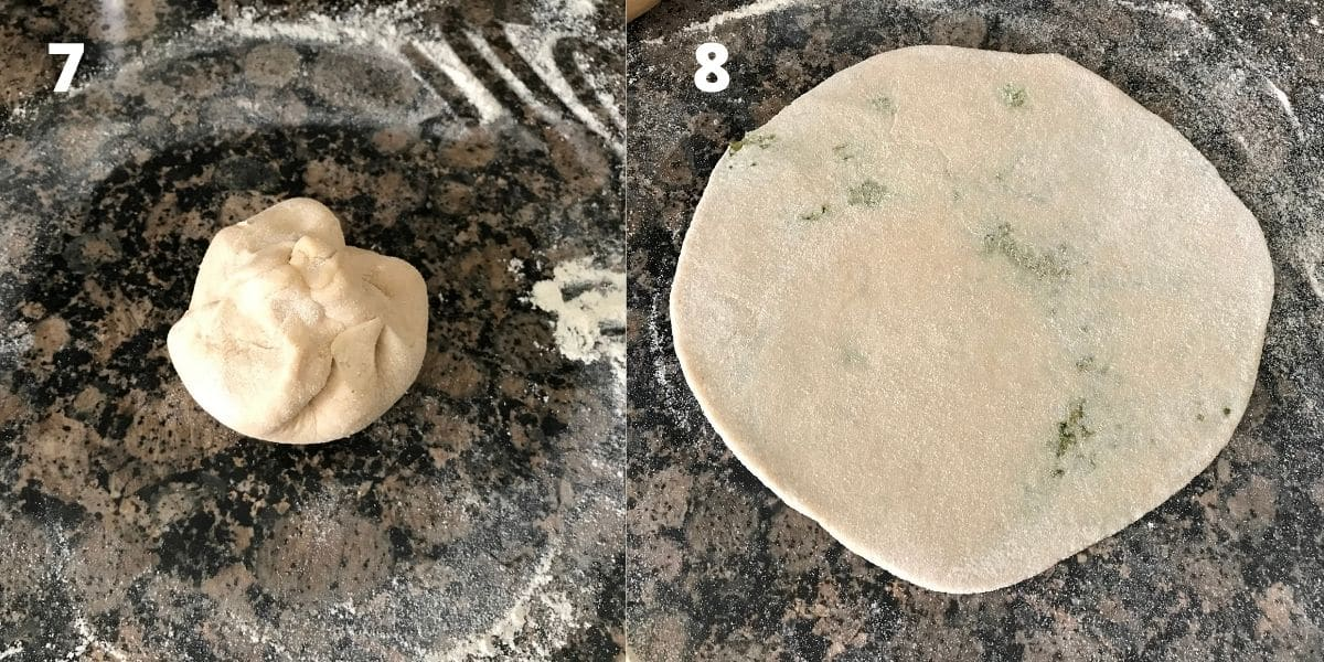Stuffed broccoli paratha are rolled flat on the surface with rolling pin