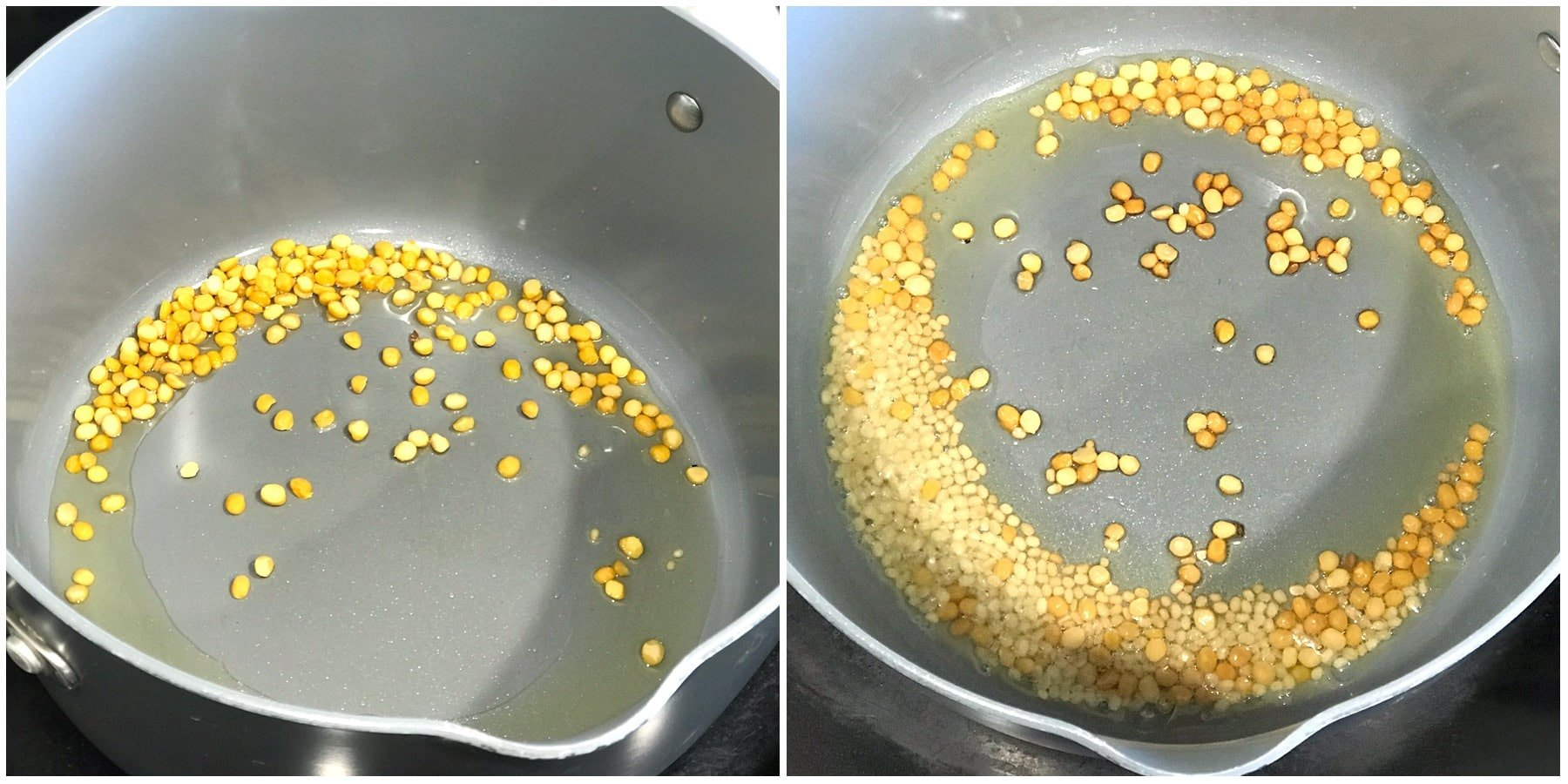 A pan is with spices and oil over the stove top
