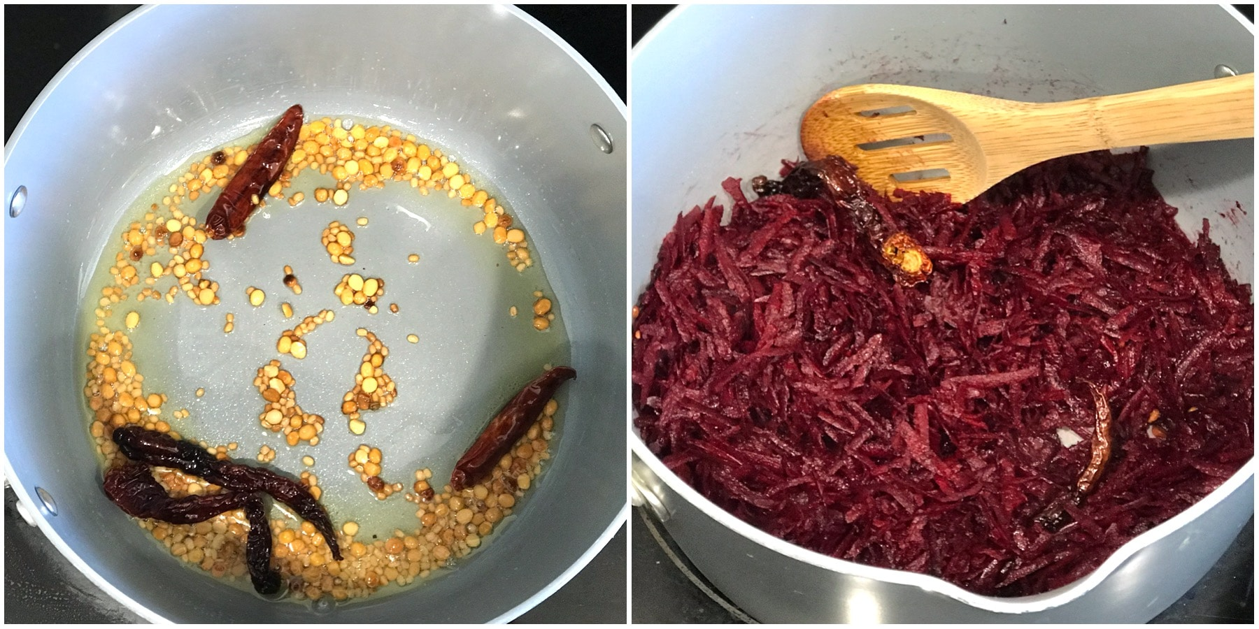 A pan is on the stove top with spices and grated beetroot