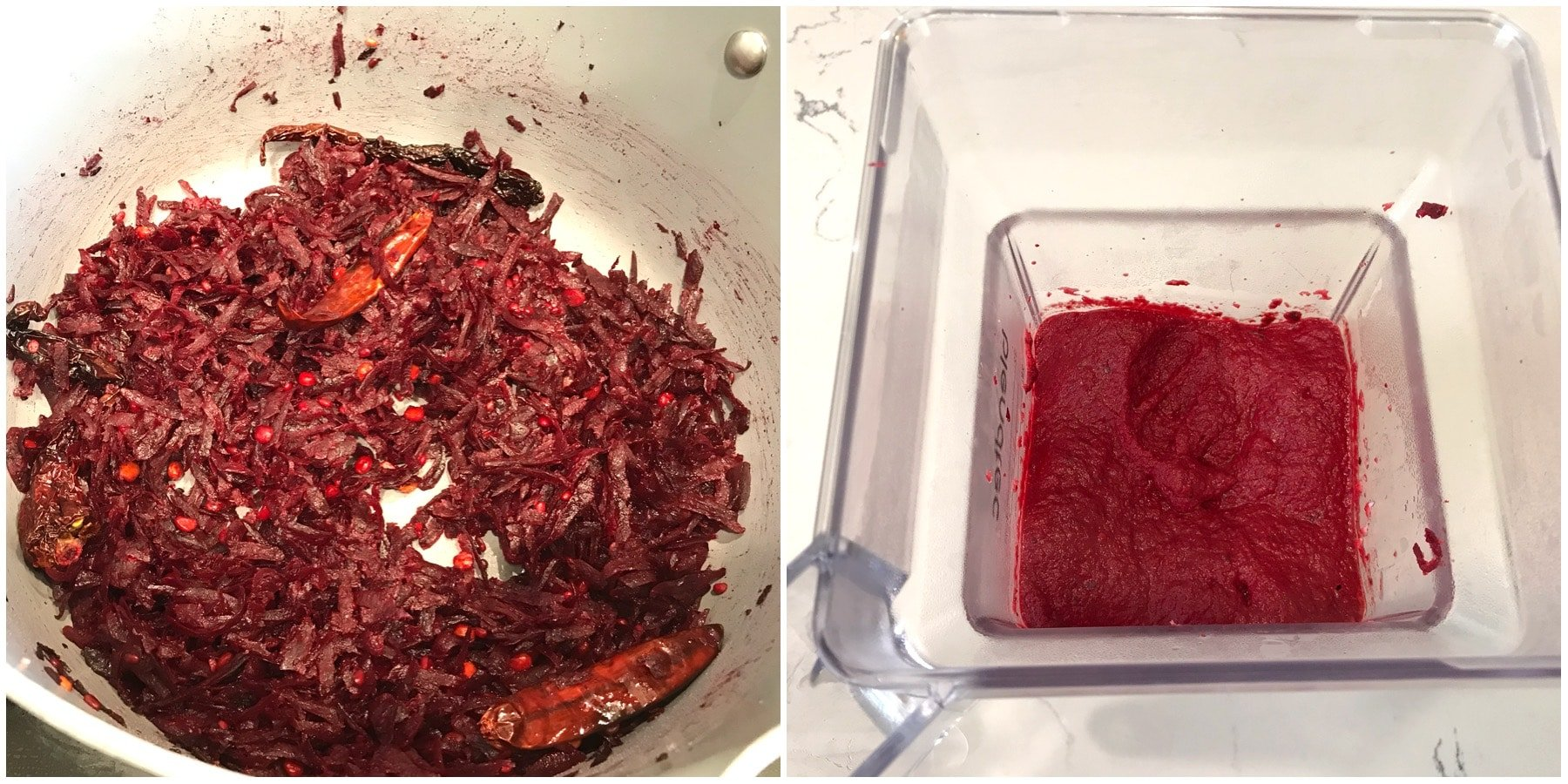 Blender is filled with beetroot sauce