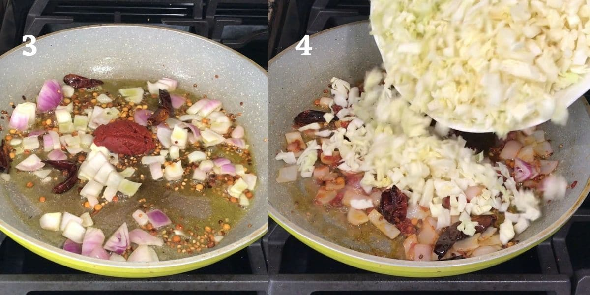 A pan is with sauteed onions, tomato, and cabbages over the heat