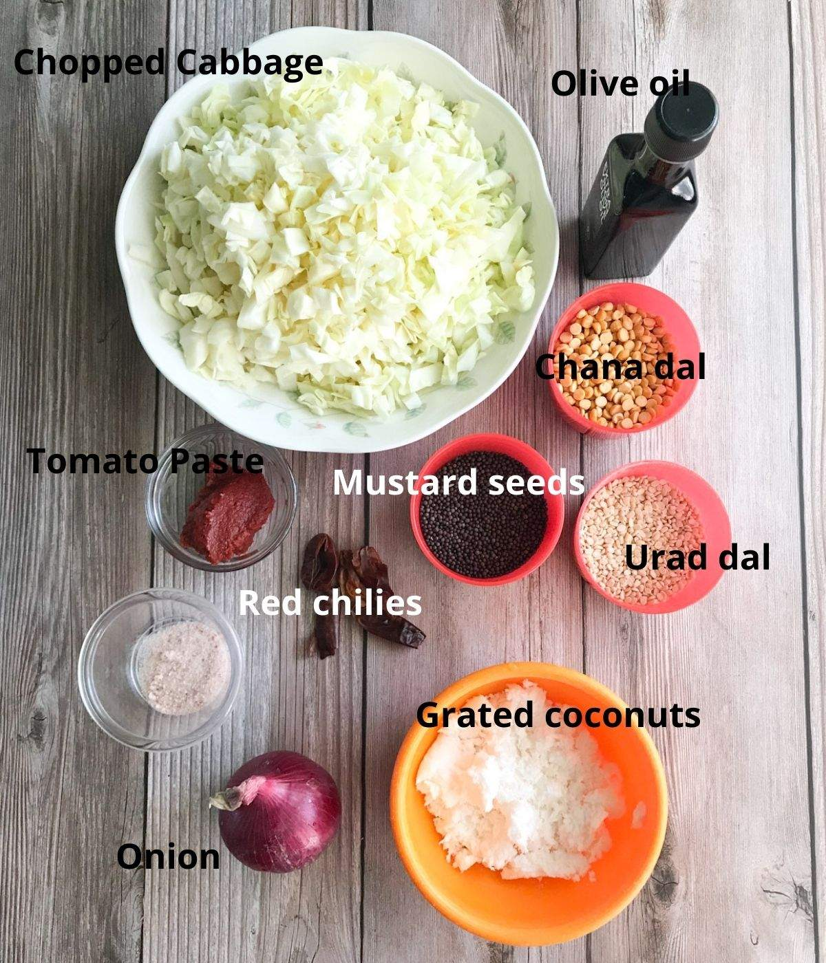 All the Cabbage chutney ingredients are on the table
