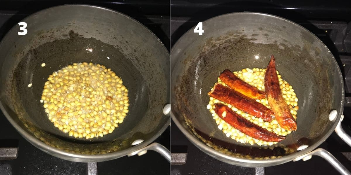 A small pan is with oil, coriander seeds, and chilies over the heat