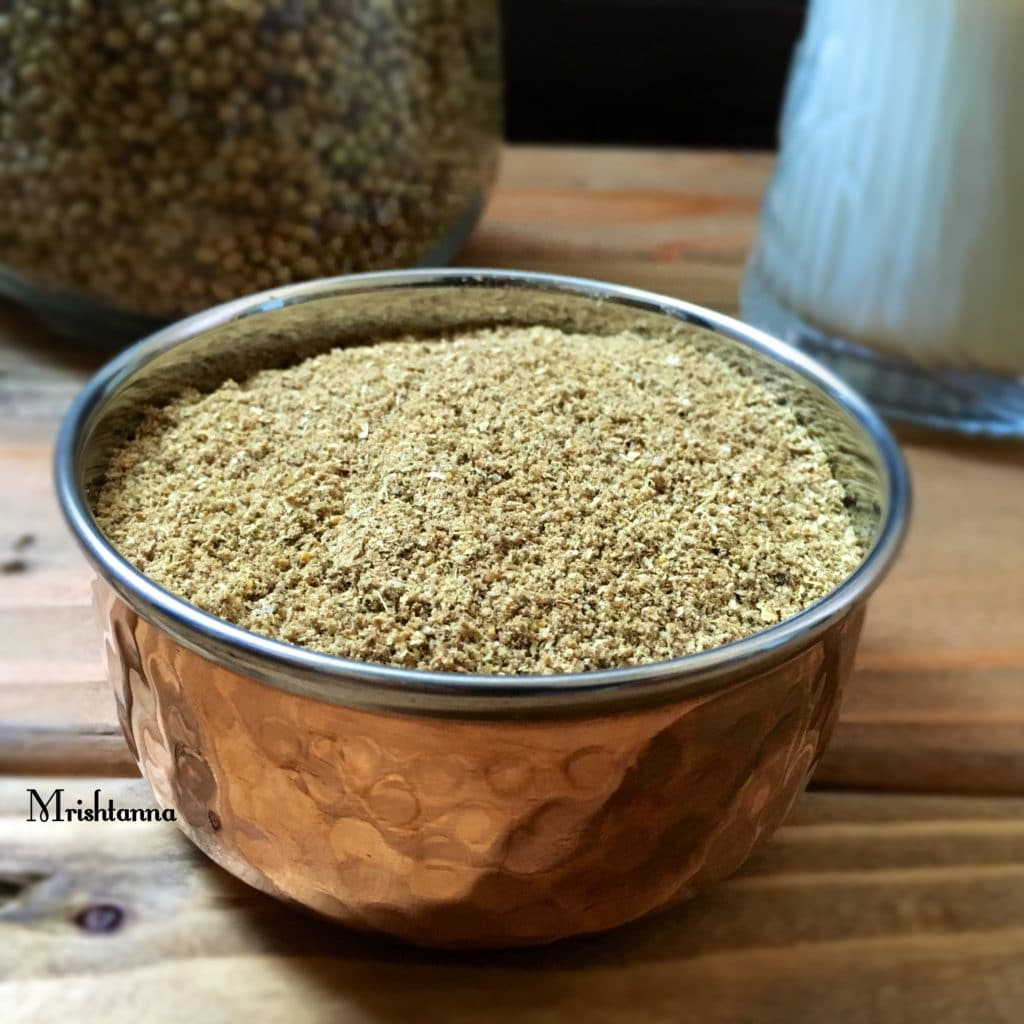 A bowl of kashaya powder sitting on a table, with Powder and Spice