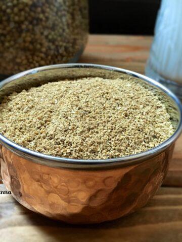 Kashaya powder placed on copper bowl