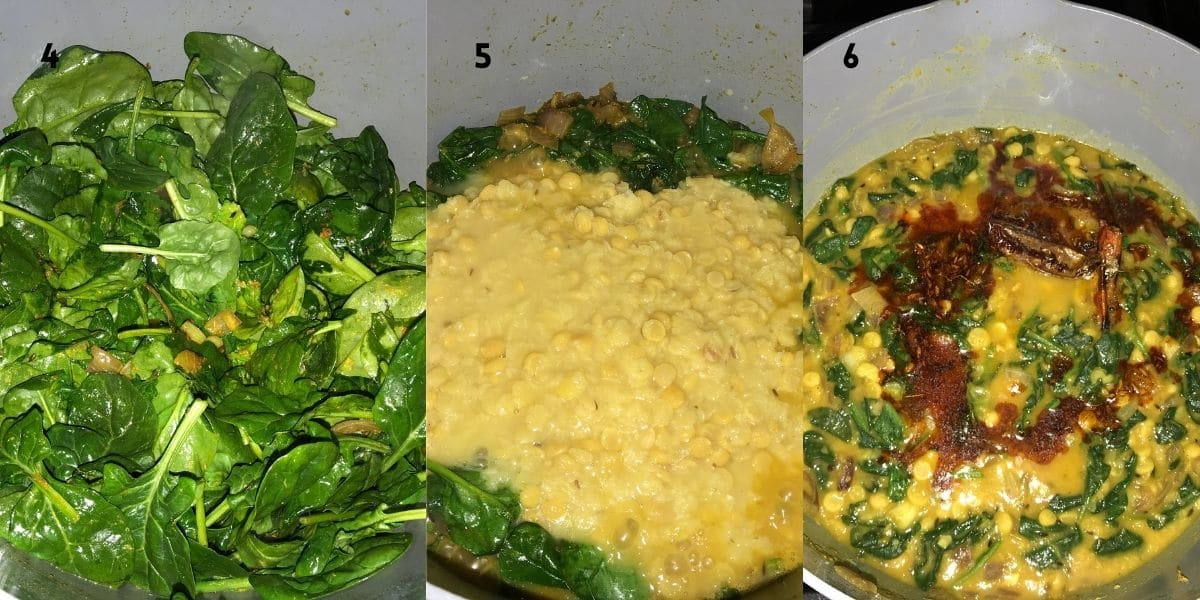 a pan is with spinach, cooked lentils and tempering on top