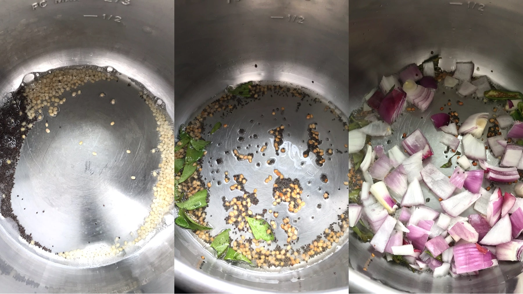 An instant pot filled with spices, oil and chopped onions