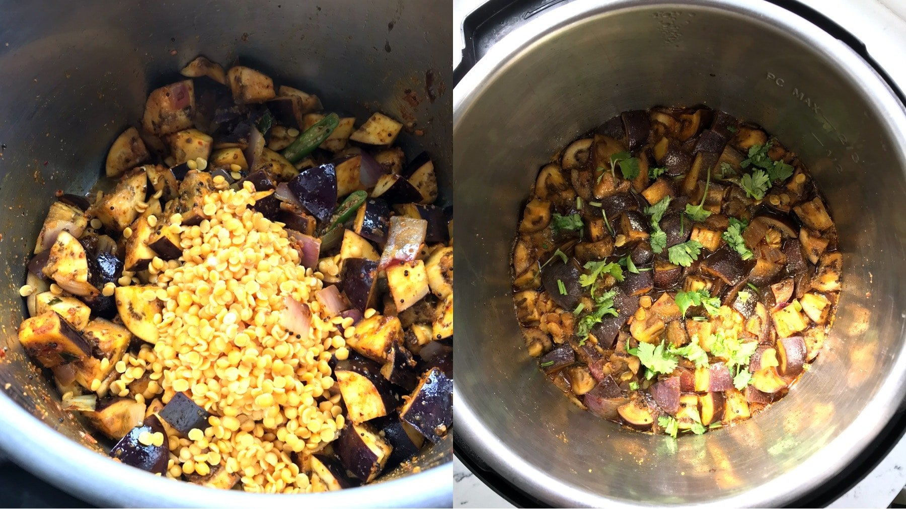 A pot is filled with Brinjal sambar and lentils