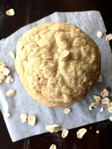 Close up of oatmeal cookies and topped with oats