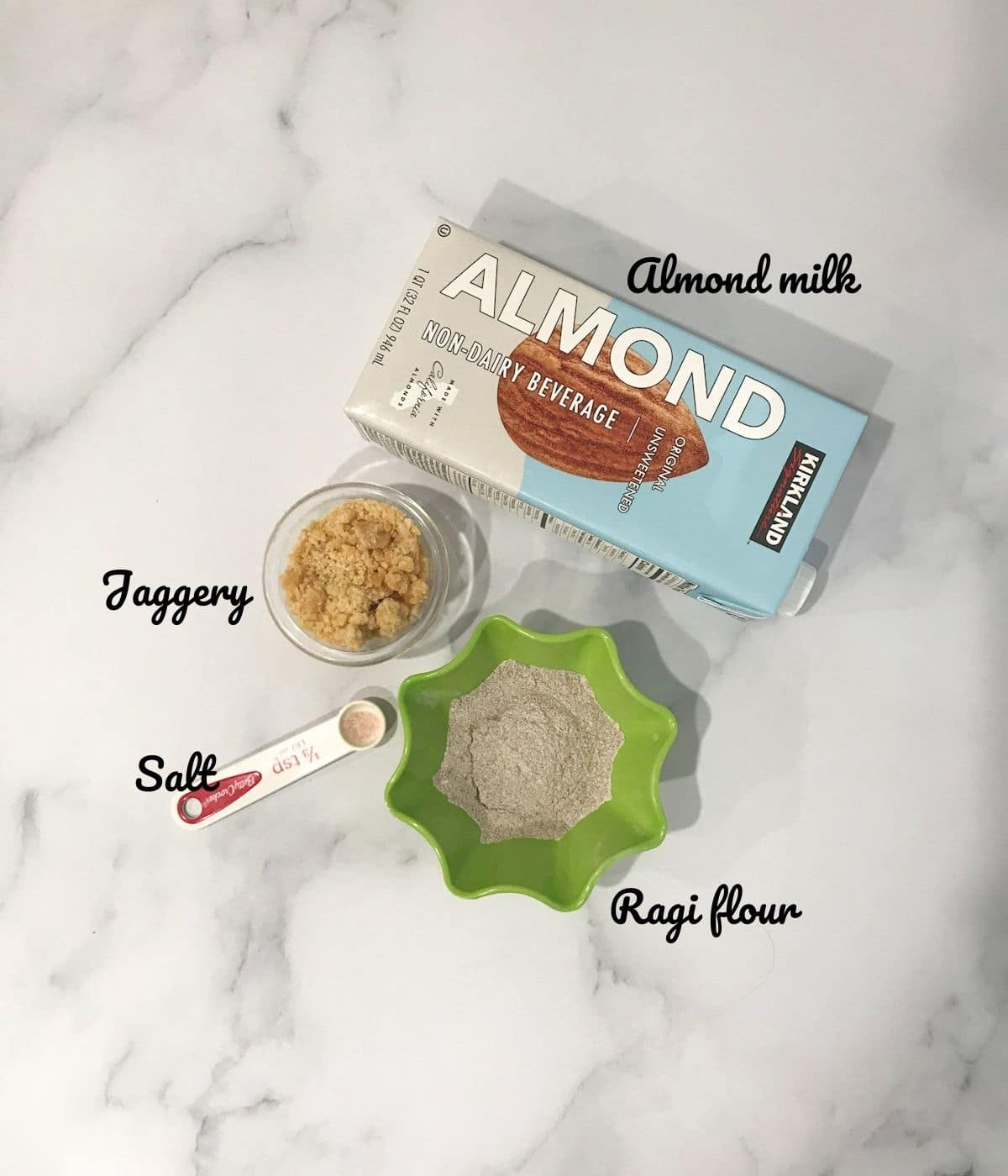 Ragi malt ingredients are placed on the counter top
