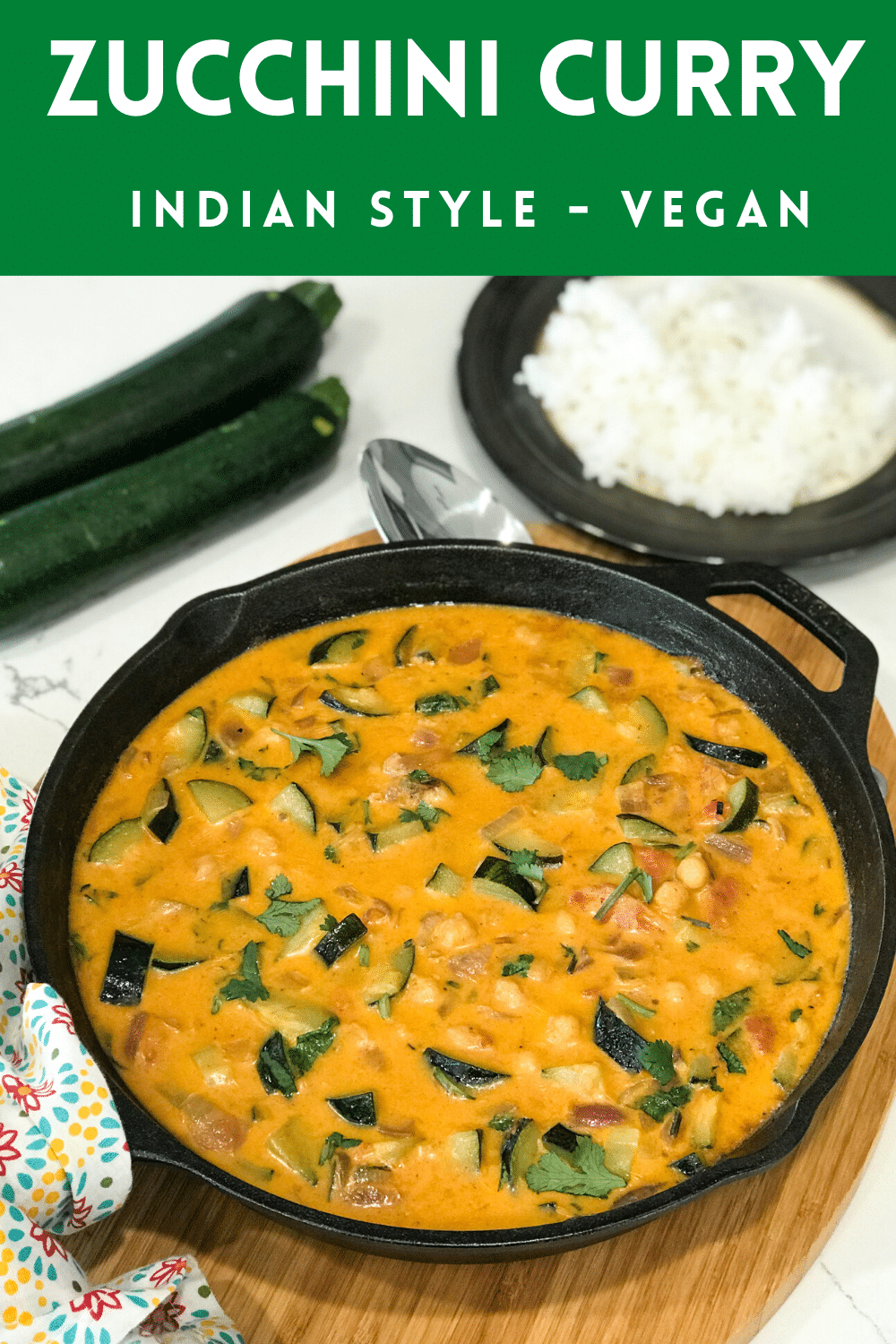A cast iron pan with Zucchini Curry