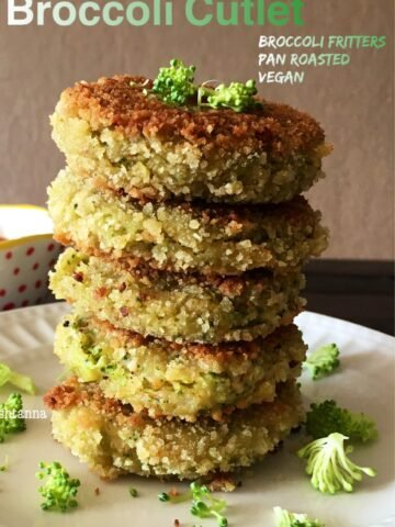 Broccoli cutlets are stacked on the white plate