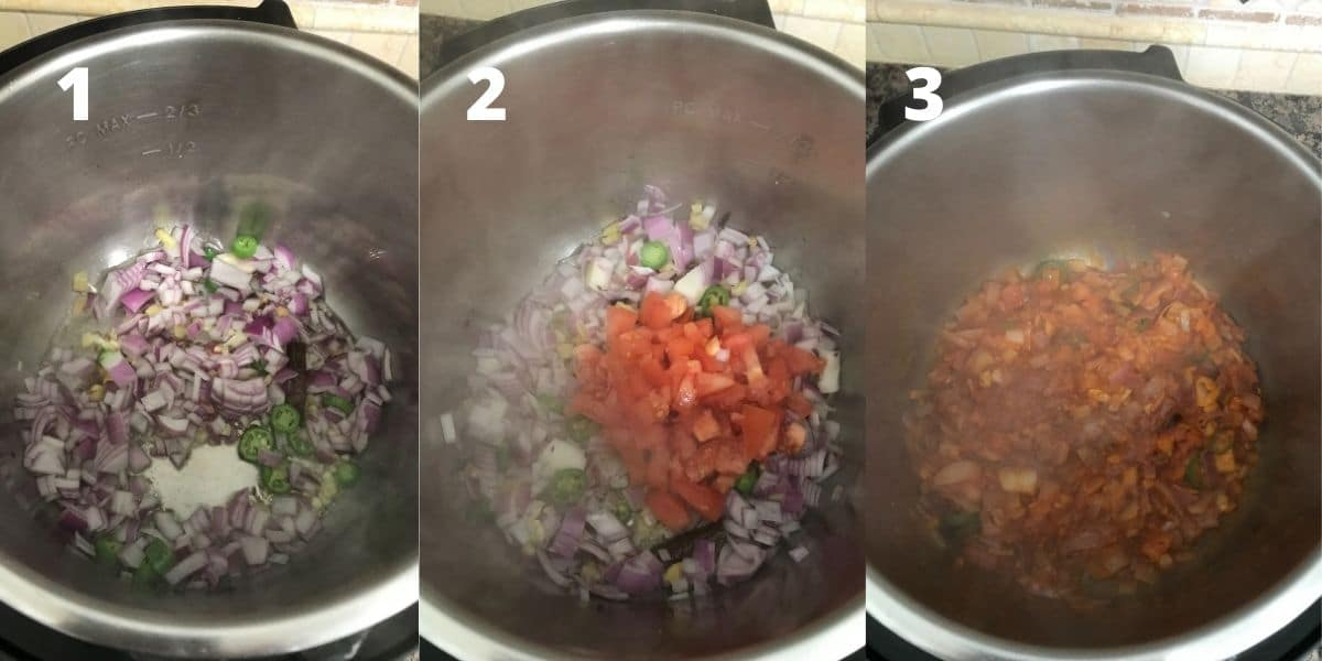 An instant pot is filled with oil, onion, tomatoes and spices to cook khichdi