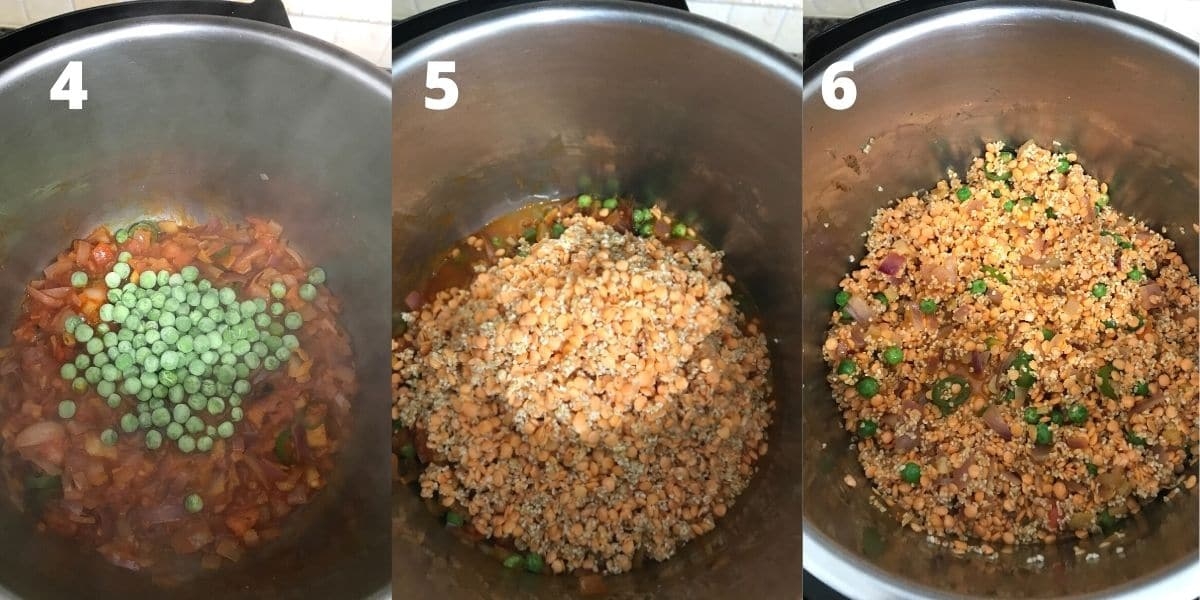 An instant pot with, peas, lentils and wheat to make khichdi