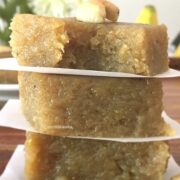 Plantain fudge stacked on the flat surface