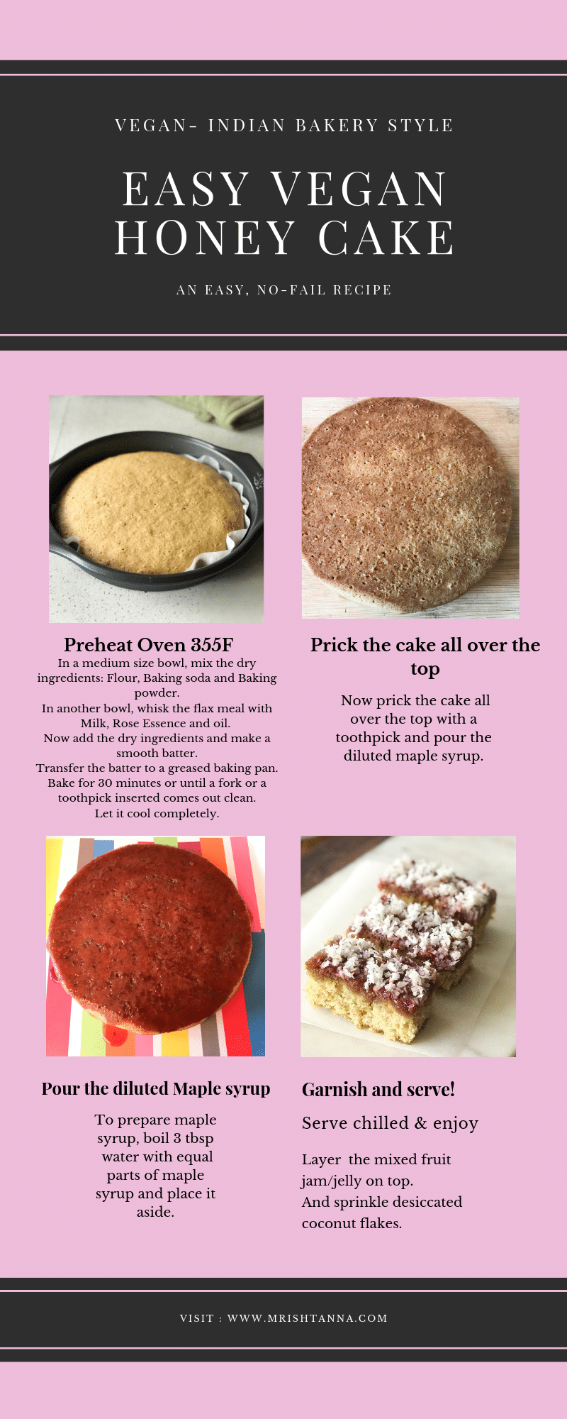 Infographics of vegan honey cake. Explained in step by step directions