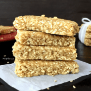 Sesame bar is stacked on a flat surface