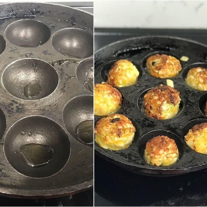 kofta is cooking in appe pan