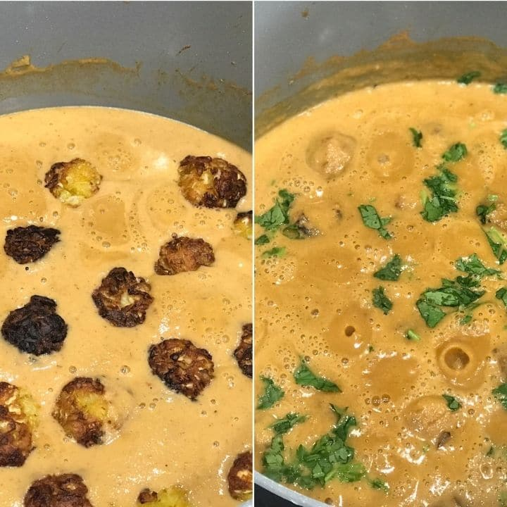 Cabbage kofta is simmering on a stove top