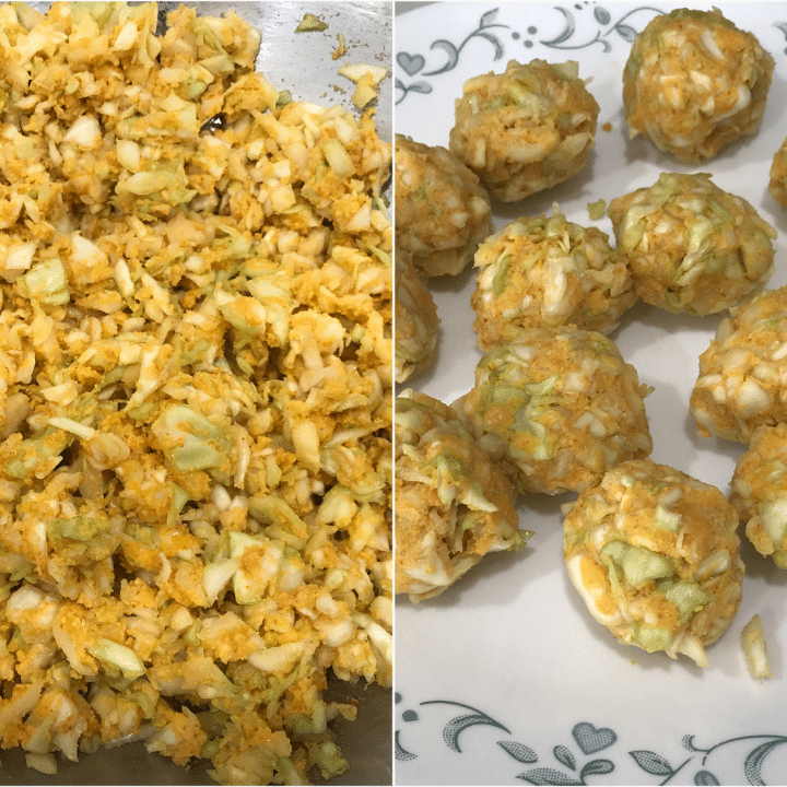 Cabbage Mixture and Balls made with cabbage and spices
