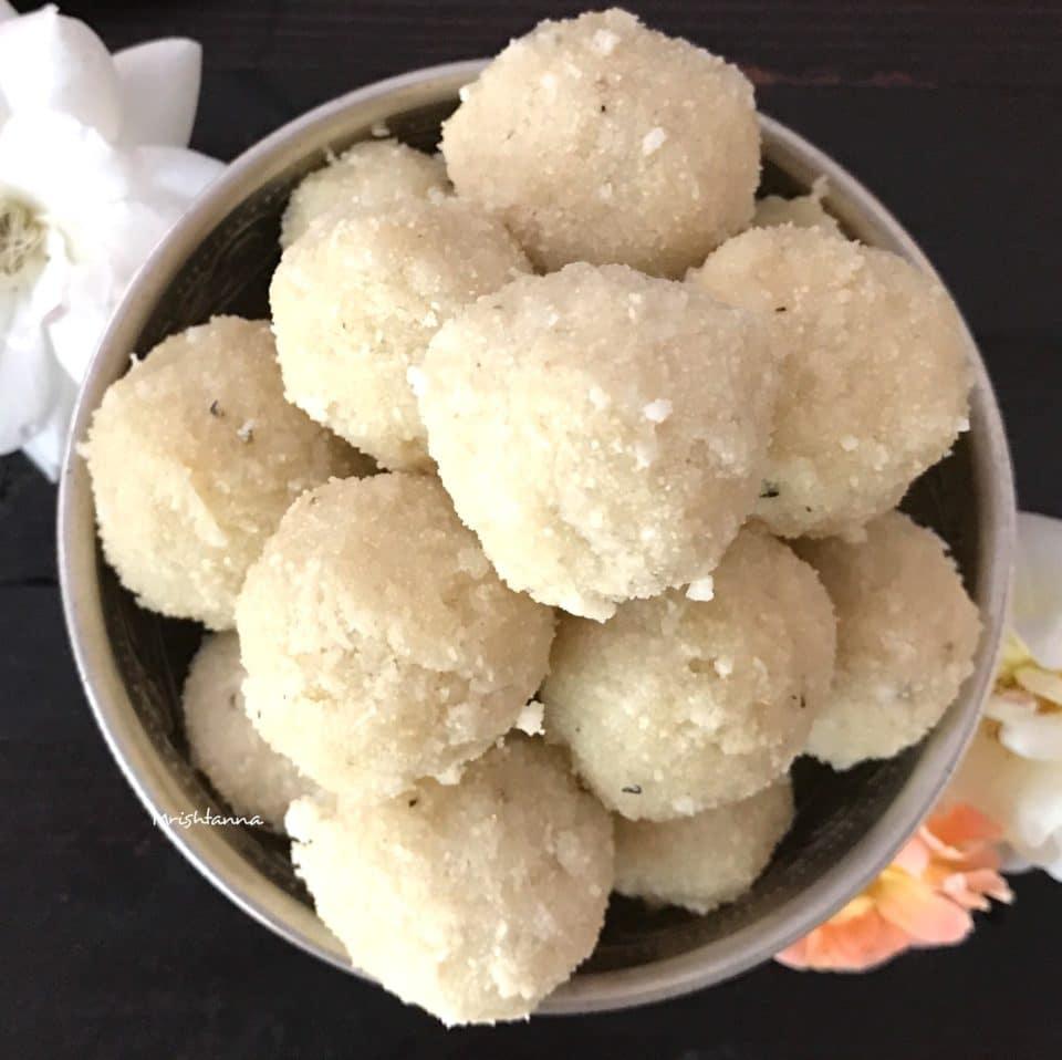 Coconut Rava Ladoo - Coconut Semolina Balls - Simple