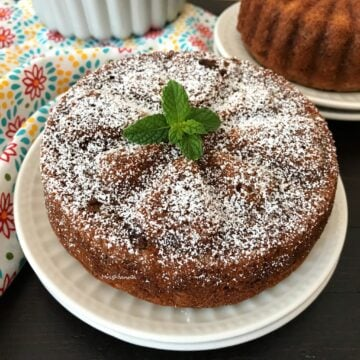 A piece of cake on a plate, with Banana cake