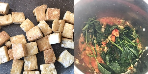 A collage of pot  filled with different types of food, with Tofu