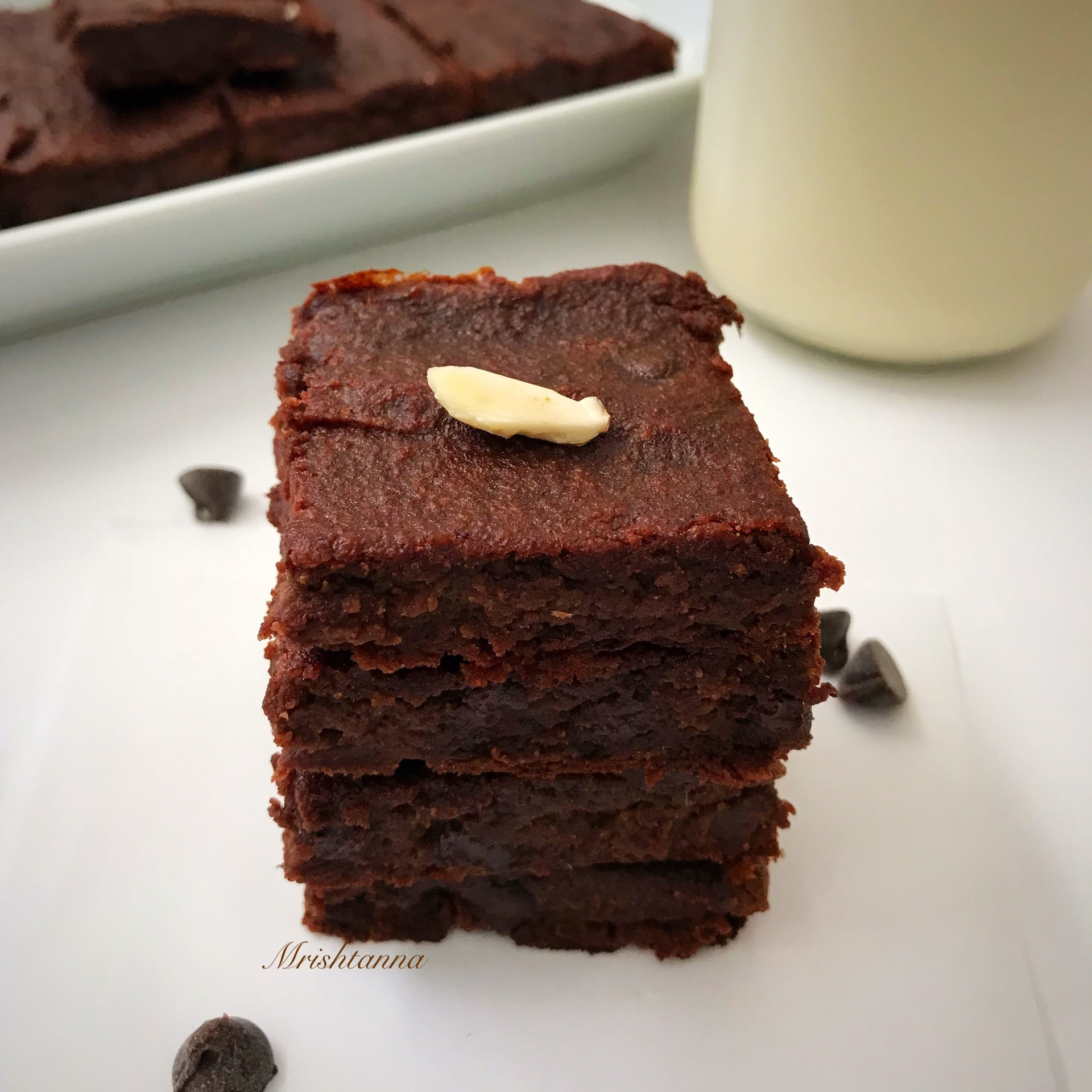 A piece of chocolate vegan brownie on a plate