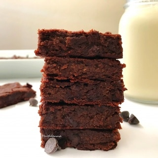 A piece of chocolate brownie on a plate