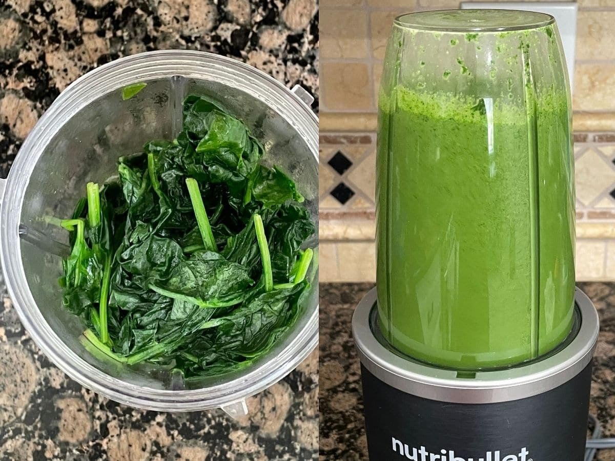 Blanched spinach is on the blender with puree