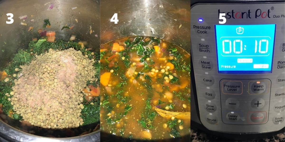 An instant pot is filled with lentils, broth and vegetables on the counter top