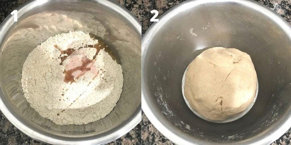 A bowl with whet flour, oil and salt