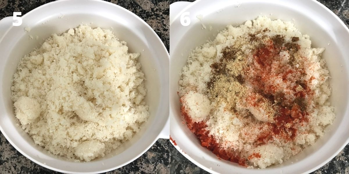 Grated cauliflower is in the bowl and placed on the table