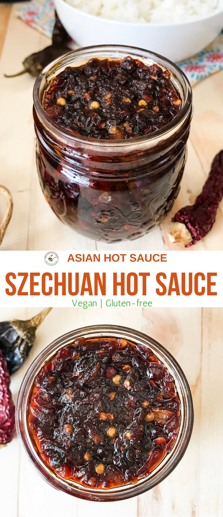 A jar is filled with Szechuan hot sauce is on the table