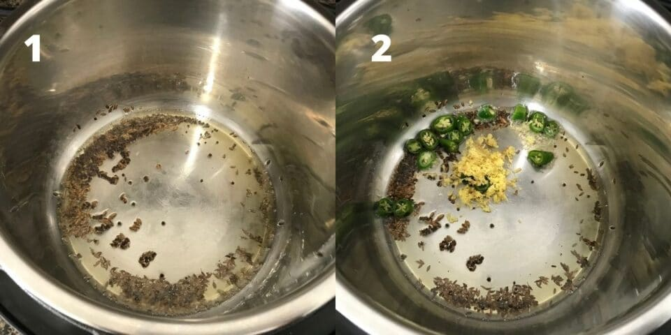 An instant pot is filled with oil, spices, and ginger