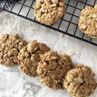 Peanut butter oatmeal cookies are placed on the countertops