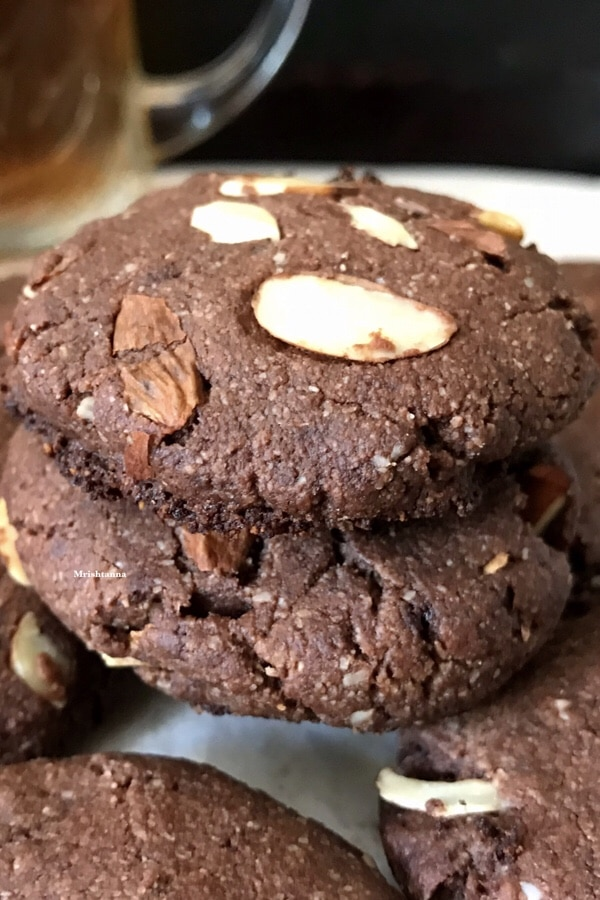 A close up of cocoa almond cookies