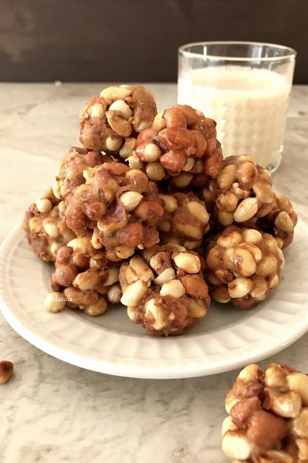 Sweet Peanut Balls - Peanut Jaggery Ladoo Recipe