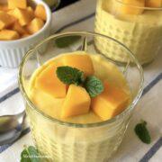 A bowl of mango mousse