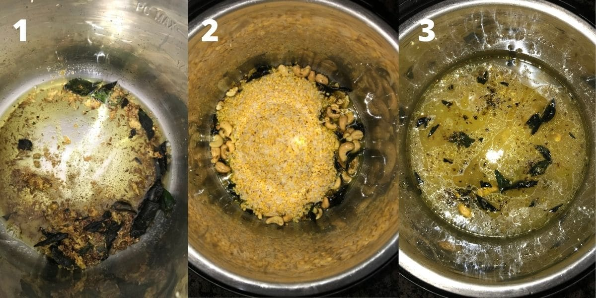 An instant pot is filled with spices, cashews, and lentils