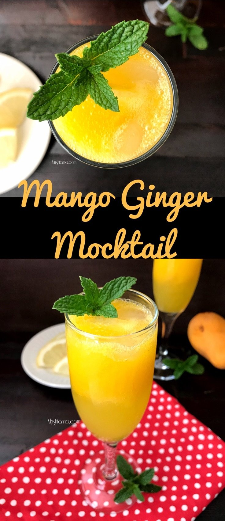 Mango mocktail is on the table