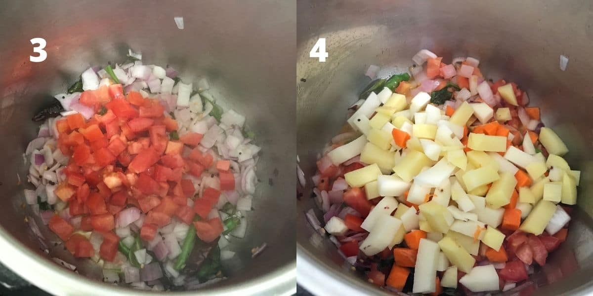 A pot is with vegetables and spices to make sambar