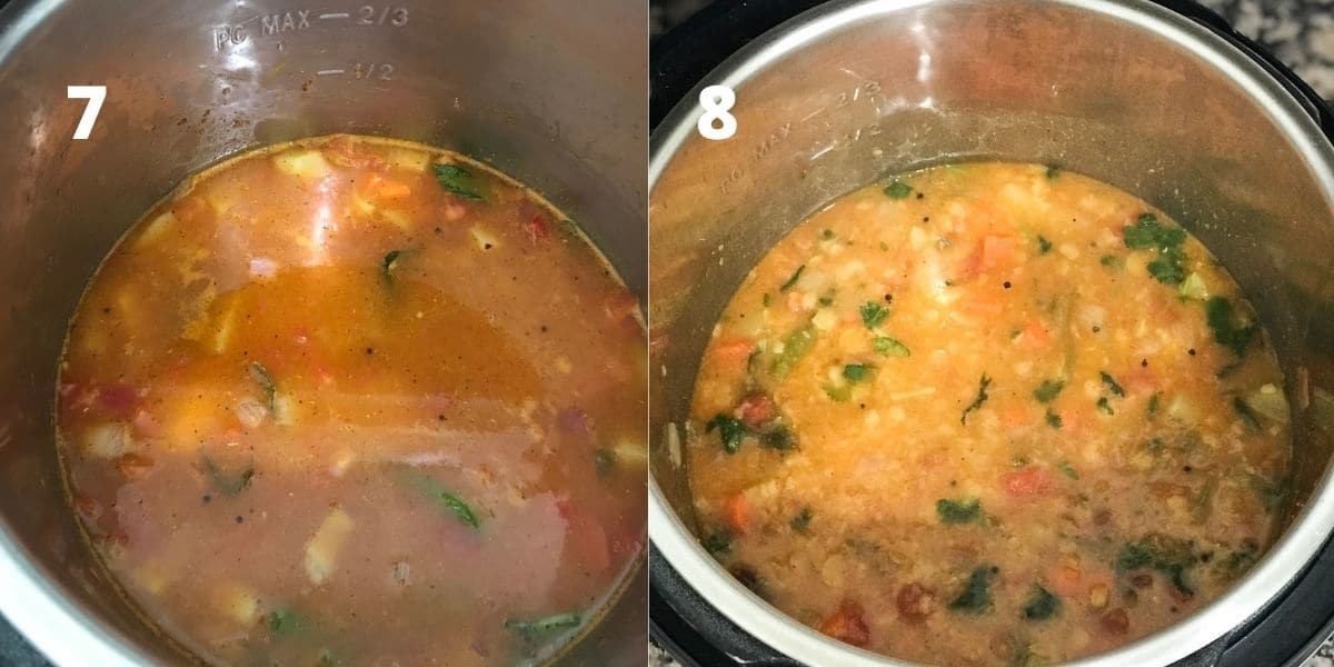 An instant pot is filled with sambar over the counter