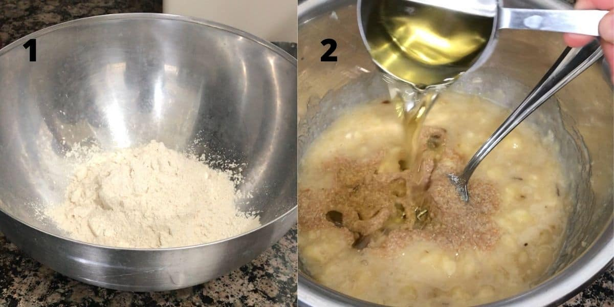 A bowl is filled with flour and banana bread wet ingredients