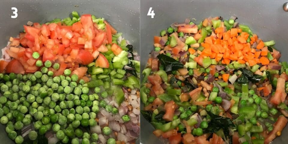 A non stick pot is with peas and vegetables over the heat