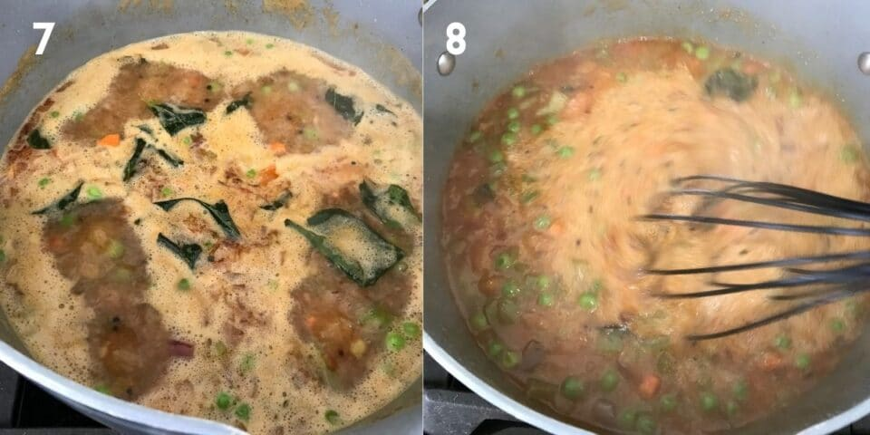 A non stick pot is with rava and vegetables for khara bath recipe