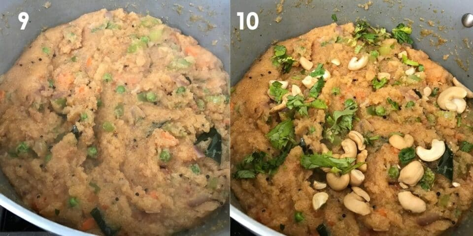 A pot is filled with rava bath and topped with cashew nuts and cilantro