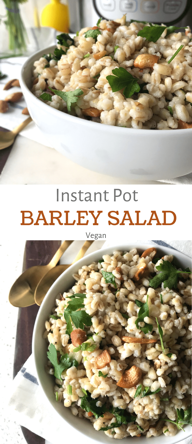 A bowl of barley salad placed on the white table and topped with nuts