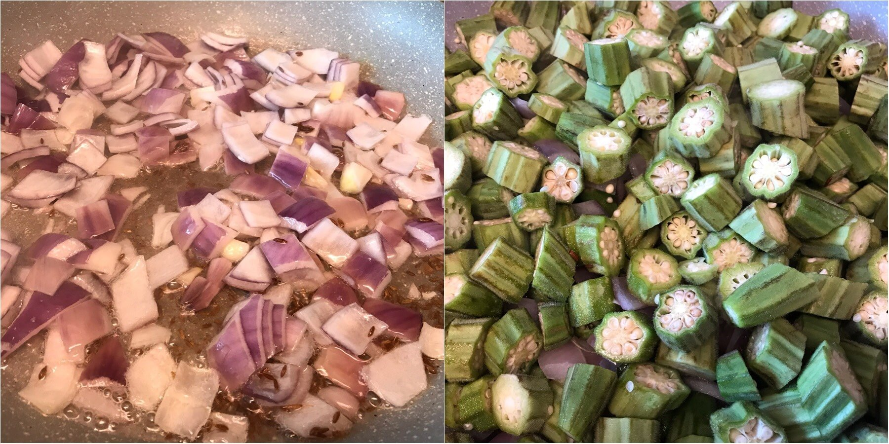 A bunch of food on a tray, with Okra and Spice